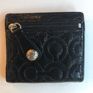 Coach black patent small wallet